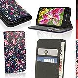 igadgitz u3886Handy PU Leder für Motorola Moto E 2A Generation xt1564Buch Cover–Blumen