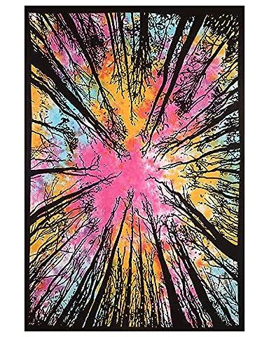 Exklusiv Psychedelic Multi Color Tie Dye Wald Tapisserie Schöne indische Wand Kunst perfekt für Geschenk Hippie Wand hängende böhmische Tagesdecke Wandtattoo Tapisserie