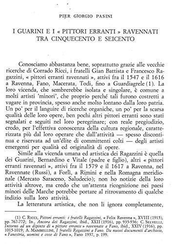 """I Guarini e i """"pittori erranti"""" ravennati tra Cinquecento e Seicento."""