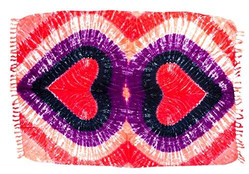 Batik Wickelrock (Sarong Pareo Wickelrock Strandtuch Tuch Wickeltuch Handtuch - Blickdicht - ca. 170cm x 110cm - Rot Lila Blau Batik mit Herz Motiv Tie Dye Handgefertigt inkl. Kokos Schnalle in Fischform)