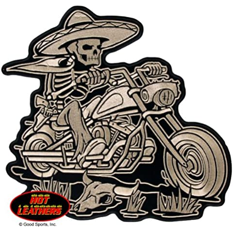 Hot Leathers, SOMBRERO SKELETON RIDER, High Quality Iron-On / Saw-On, Heat Sealed Backing Rayon XL PATCH - 11