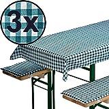 3x Bierbankauflagen-Set 3-teilig in grün: 1 Tischdecke 240 x 90 cm + 2 gepolsterte Bierbankauflagen 220 x 25 cm