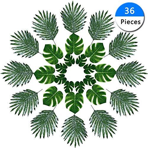 36 Stück 3 Arten künstliche Tropische Blätter Palmen 3 Größen Kunstpflanze Monstera Blatt DIY Simulation Schildkröte Blatt für Wohnzimmer Luau Dschungel Strand Geburtstag Party Motto