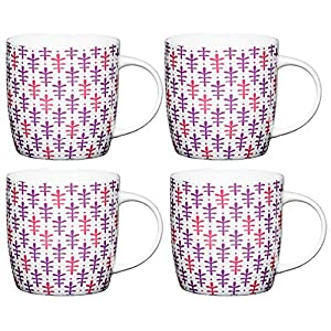KitchenCraft Moroccan Leaf Colourful Patterned Barrel Mugs, China, Multi Colour, 425 ml, Set of 4