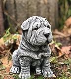 Statue jardin chien Shar-Pei, au gel et aux intempéries-massif en pierre …