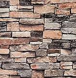 Arthome Carta da Parati Autoadesiva, Addensata Impermeabile Vinile Durevole Muro di 3D pietra Effetto Adesivi Murali, 53cmx5.65mx0,45mm buccia e bastone