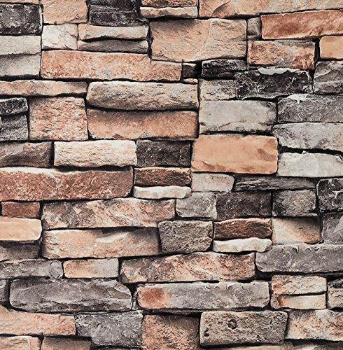 Wallpaper Kontakt Papier Wandverkleidung Distressed Vinyl Faux Stein Marmor Dekorative selbstklebende schälen und Stick Moistureproof wasserdichtes hängendes Papier für Wanddekoration (0,53 * 5,65 m) -
