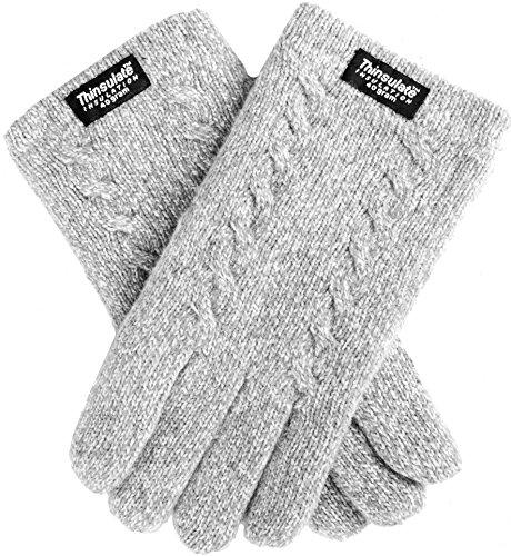 EEM Damen Strickhandschuhe FREYA mit Zopfmuster und Thinsulate Thermofutter, 100% Wolle, Winterhandschuh; grau-melange M
