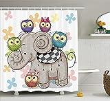 Cartoon Decor Shower Curtain Set by, Cute Cartoon Elephant and Owls On A Floral Background Animal Love Big Eyes Boys Girls Decor, Bathroom Accessories, 60 X 72inch, Multi