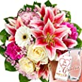 Blumenstrauß Träumerei mit Vase & Merci Schokolade von FloraPrima - Du und dein Garten