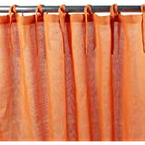 Rumba (-Cortina de algodón 140 x 250 cm, color naranja,) • 100% algodón-Monbeaurideau