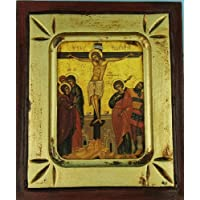 Icon. Crucifixion 11 cm x 13 cm. Christ Crucified. Greek Icon