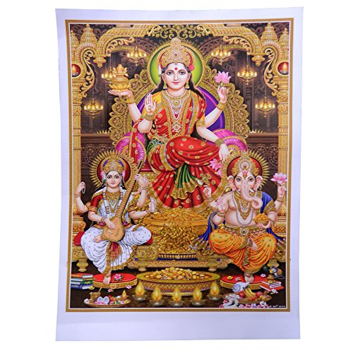 poster-diwali-lakshmi-ganesh-sarasvati-92-x-62-cm-brillant-dore-inde-accessoire-hindouisme-decoratio