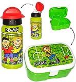 alles-meine.de GmbH 2 tlg. Set _ Lunchbox / Brotdose & Trinkflasche -  Fußball & Fußballspieler ..