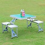 Dbtxwd Folding Picknicktisch mit 4 Sitzplätzen und Koffer, Aluminium Camping Tisch Indoor-und Outdoor-Picknick, Grill, Strand, Wandern, Angeln,Green