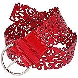 sourcingmap® Damen Rot aushöhlen Blume Kunstleder Hüfte Gürtel mit einzig Pin Schnalle