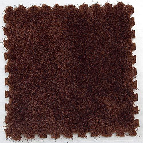 Alfombra de piso de espuma EVA para hacer puzles de pelo largo, alfombra de pelo largo y suave de felpa para niños y bebés de 30 x 30 cm, 1 unidad Tamaño libre Dark Coffee
