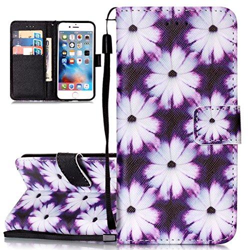 Custodia iPhone 6 Plus, Cover iPhone 6S Plus, ISAKEN Flip Cover per Apple iPhone 6 Plus(5.5), Elegante borsa Bookstyle Design Flip Caso in Sintetica Ecopelle PU Pelle Protettiva Portafoglio Wallet Ca Fiori violet