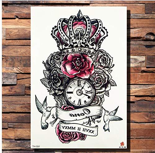 ruofengpuzi Schwarze Frauen Arm Mode Tattoo Aufkleber Skizze Blume Rose Temporäre Tätowierung Mann Wolf Nette Origami Vogel Gefälschte Tätowierung Kette ()