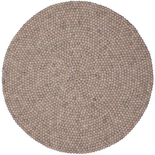 myfelt Béla Filzkugelteppich, rund, Schurwolle, beige, Ø 120 cm