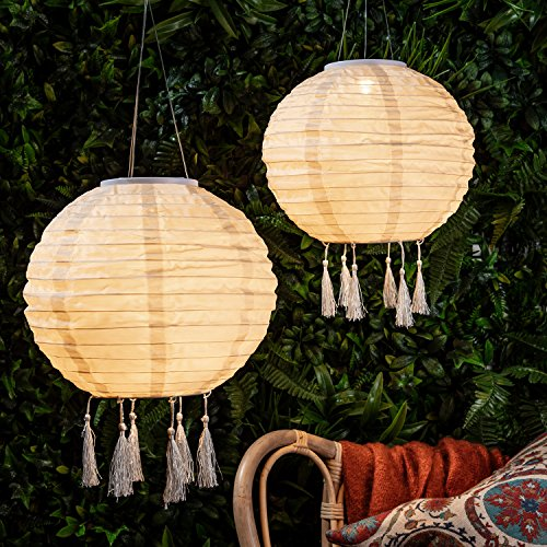 6er Set LED Solar Lampions mit Fransen Solarbetrieb Lights4fun
