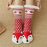 LILONGXI Warme Socken,Frau Winter Weihnachten Socken rutschfeste Boden Verdickung Warme Socken, Mädchen Plus Red Fox Muster Drucken Baumwolle Socken, Hausschuhe Freizeit Socken(3pcs)