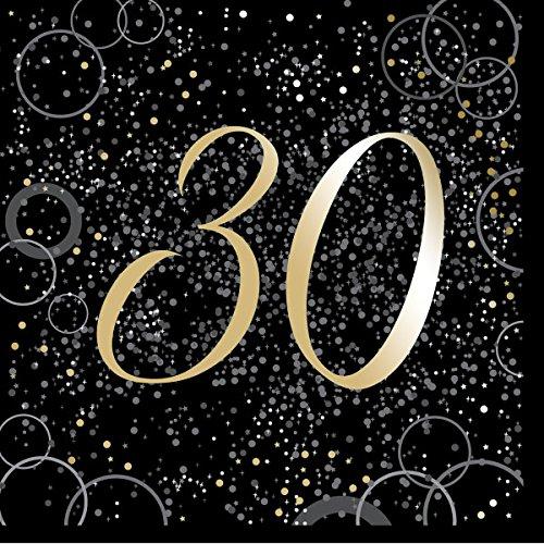 Unique Papierservietten mit Foliendruck für Den 30. Geburtstag,Gold,16er Pack