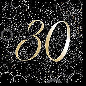 Unique Party- Paquete de 16 servilletas de papel de 30 cumpleaños, Color dorado metálico brillante (57490)