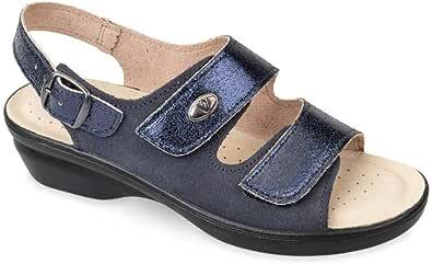 Valleverde 25313 Sandali Ciabatte Donna Pelle Strappi Blu