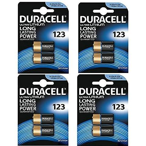 8 x piles CR123 3 V au lithium Duracell Ultra photo – dl123 Pile pour batterie – el123 a – CR123 A – CR17345