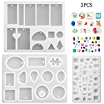 Phoneix 3 Pieces Jewelry Making Molds Assorted Silicone Resin Mould with Hanging Hole for Making Pendant, Cabochon...