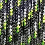 Paracord Fallschirmleine, 2mm x 50m, gemischte Farben, Schwarz/Weiß / glänzend/Grün