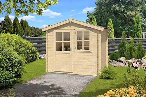 Gartenhaus G183 - 28 mm Blockbohlenhaus, Grundfläche: 4 m², Satteldach