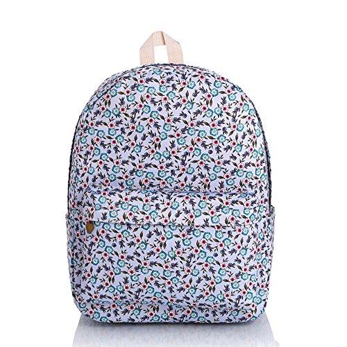 OUFLY Print Blumenrucksack gedruckt Leinwand Rucksack Schulter Satchel Schultasche Daypack Blaue und rote Blumen