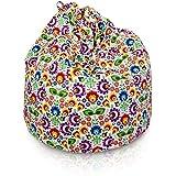 Italpouf Pouf Poire L pour Enfants Folk 77 x 90cm 230l Rembourrage en Billes de polystyrene Indoor Beanbag Chaise de Sol