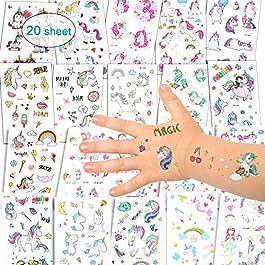 Adesivi per unicorno Tatuaggi temporanei – Regali per bambini unicorno, Tatuaggi per unicorno impermeabili Regali di…