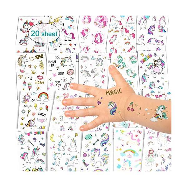 Adesivi per unicorno Tatuaggi temporanei - Regali per bambini unicorno, Tatuaggi per unicorno impermeabili Regali di… 1 spesavip
