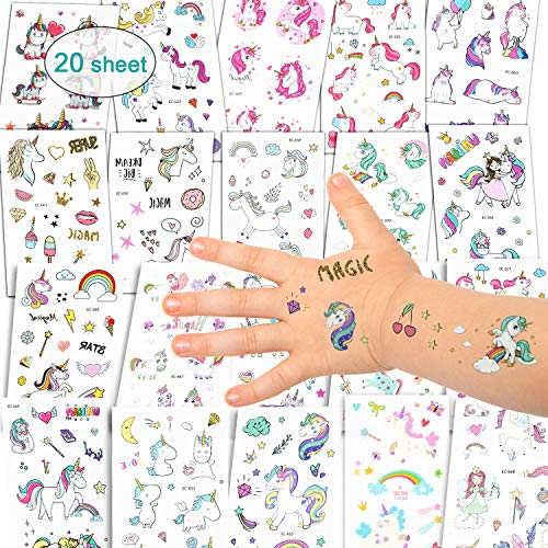 EKKONG Einhorn Tattoos Set, Einhorn & Regenbogen temporäre Tattoos Sticker für ädchen/ Kinder/Frauen/Erwachsene, Einhorn Party Supplies, Perfect Party Tattoo Set, Wasserdichte Tattoo (20 Blatt)