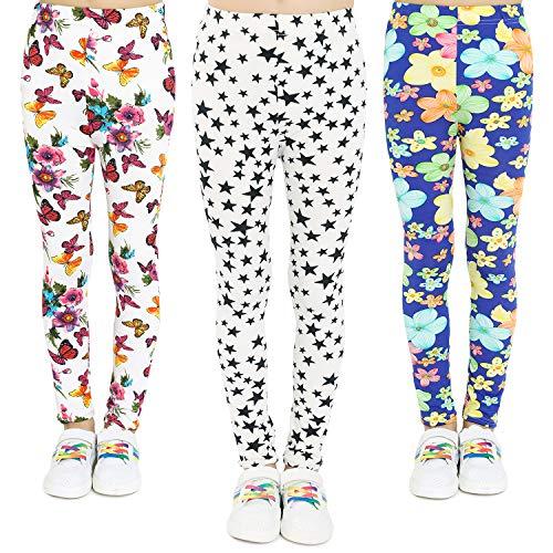 Adorel Mädchen Leggings Hosen 3er-Pack Blumen-Schmetterling-Sterne 134/140 (Herstellergr. 75) (Leggins Für Mädchen)