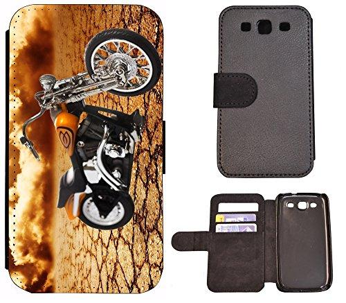 Flip Cover Schutz Hülle Handy Tasche Etui Case für (Apple iPhone 5 / 5s, 1239 Delfin Brau Grau) 1234 Motorrad Schwarz Orange Chopper