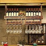 LY-Mobili cantinetta Portacandele in ferro battuto nero / rosso bronzo per vino Bar Disponibile in 2 colori e 2 misure 100 cm: può appendere 24 tazze e 8 bottiglie di vino, 120 cm: può appendere 30 ta