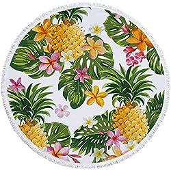 Bunter Piña fruta Impresión Toalla redondo con borlas Verano Playa enfriador redondo techo grande circular Matte Flecos playa roundie circular, Yoga Picnic esterillas Mantel, estampado 11, 59*59in