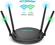 1200Mbps Smart WiFi Router, WAVLINK AC1200 Dual-Band Gigabit Ethernet Router WiFi Wireless 5Ghz + 2.4Ghz Gaming WiFi Router H