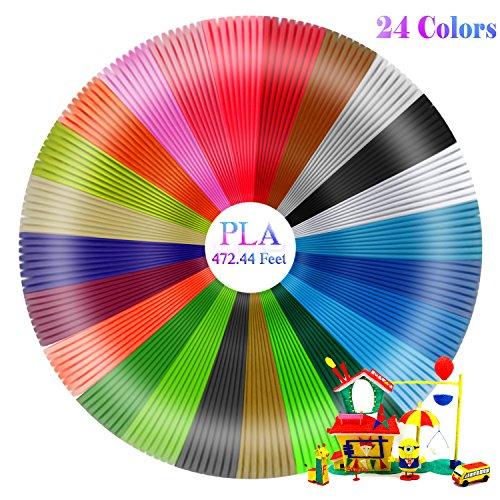 Fixget 24 Colores 3D Filamento, Filamentos 3D Lápiz de Recambio Filam