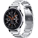 V-MORO Metal Strap Compatible with Galaxy Watch 46mm Bands/Gear S3 Classic Band Men Silver 22mm Solid Stainless Steel Busines