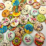#3: Imported 50Pcs Printed Round 2 Holes Wooden Buttons for Sewing Crafting 20mm