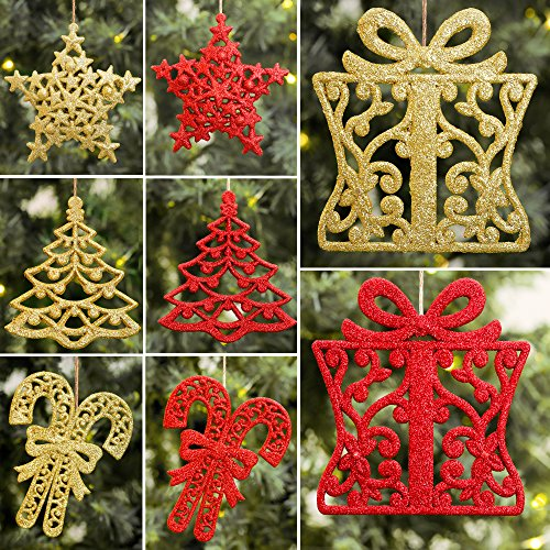 valery madelyn 24 pcs 9 13cm red and gold sparkling essential christmas ornaments set glittery hanging decorations tree snowflake candy cane and gift box