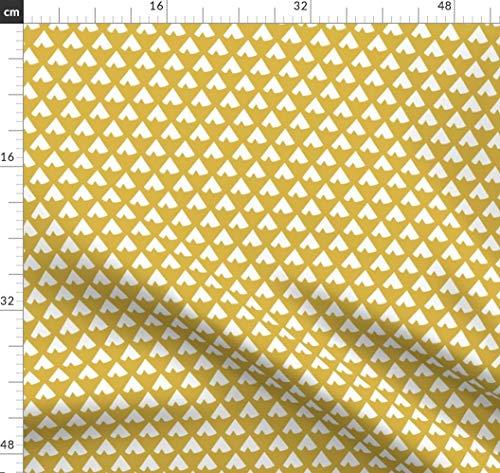 Gold, Senf, Tipi, Indigen, Pfeile, Wald Stoffe - Individuell Bedruckt von Spoonflower - Design von Mrshervi Gedruckt auf Bio Musselin -