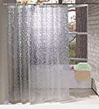 Eurcross Cobblestone Shower Curtain Semi-Transparent EVA, Non-Toxic and Odorless Modern Bathroom Curtains With Hooks,Standard Size 180cm*180cm