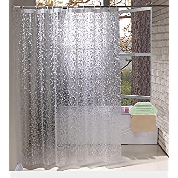 EurCross Shower Curtains EVA With Crystal Stone Waterproof And Mildew Resistant Semi